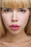 Beauty woman face with big lips Royalty Free Stock Photos