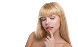 Beauty woman face with big lips Stock Photo