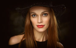 Beauty woman face. Close up of a beautiful young female model stock photos