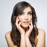 Beauty woman face close up portrait. Royalty Free Stock Photos