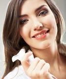 Beauty woman face close up portrait. Stock Photos