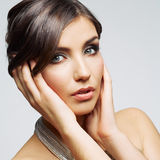 Beauty woman face close up portrait. Female young  Royalty Free Stock Images