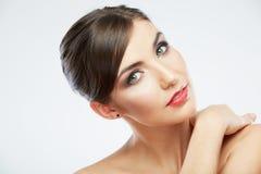 Beauty woman face close up portrait. Stock Images