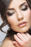Beauty woman face close up portrait. Light make up. Royalty Free Stock Images