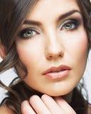 Beauty woman face close up portrait. Light make up Stock Image
