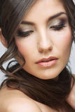 Beauty woman face close up portrait. Light make up Stock Photo