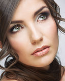 Beauty woman face close up portrait. Light make up Royalty Free Stock Photography