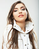 Beauty woman face close up portrait. Young female model poses. Royalty Free Stock Image