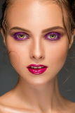 Beauty woman face closeup isolated on black background. Beautiful Stock Images