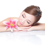 Beauty woman face with flower Stock Photos