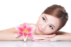 Beauty woman face with flower Royalty Free Stock Photos
