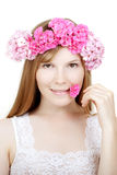 Beauty woman face with flowers Royalty Free Stock Images