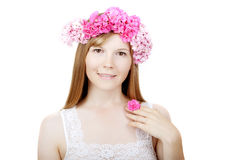 Beauty woman face with flowers Royalty Free Stock Photos