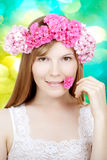 Beauty woman face with flowers Royalty Free Stock Photo