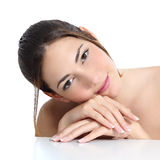 Beauty woman face and hands with french manicure Stock Image