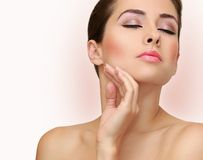 Beauty woman face with health skin. Royalty Free Stock Photography
