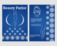 Beauty woman face and legs flyer template Royalty Free Stock Photos