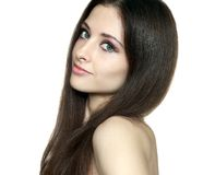 Beauty woman face with long hair Stock Image