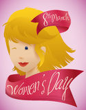 Beauty Woman Face with Pink Ribbons around for Women's Day, Vector Illustration. Blond haired woman winking with pink ribbons around with Women's Day message Royalty Free Stock Photos