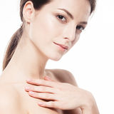 Beauty Woman face Portrait. Beautiful model Girl with Perfect Fresh Clean Skin. Stock Images
