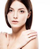 Beauty Woman face Portrait. Beautiful model Girl with Perfect Fresh Clean Skin Stock Photos