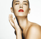 Beauty Woman face Portrait. Beautiful Spa model Girl with Perfec Stock Image