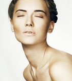 Beauty Woman face Portrait. Beautiful Spa model Girl with Perfec Stock Photography