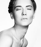 Beauty Woman face Portrait. Beautiful Spa model Girl with Perfec Royalty Free Stock Image