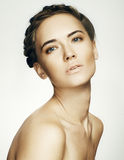 Beauty Woman face Portrait. Beautiful Spa model Girl with Perfec Royalty Free Stock Photo
