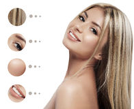 Beauty Woman face Portrait. Beautiful Spa model Girl with Perfect Fresh Clean Skin.  Youth and Skin Care Concept. Stock Photography