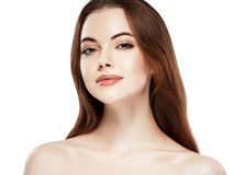 Beauty Woman face Portrait. Beautiful Spa model Girl with Perfect Fresh Clean Skin. Youth and Skin Care Concept. Stock Photos