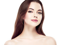 Beauty Woman face Portrait. Beautiful Spa model Girl with Perfect Fresh Clean Skin. Youth and Skin Care Concept. Royalty Free Stock Photo