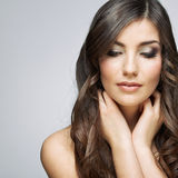 Beauty woman face portrait.  on gray background Royalty Free Stock Photography