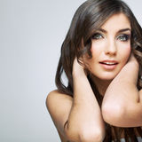 Beauty woman face portrait. Isolated on gray background Royalty Free Stock Photography