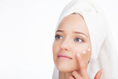 Beauty Woman face Portrait. Skin Care Concept Isolated on a white background Royalty Free Stock Photos
