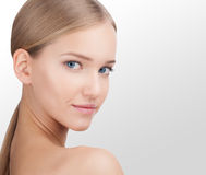 Beauty Woman face Portrait. Skin Care Concept Isolated on a white background stock photos