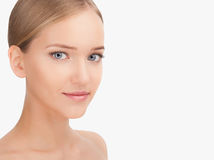 Beauty Woman face Portrait. Skin Care Concept Isolated on a white background stock photo