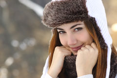 Free Beauty Woman Face Portrait Warmly Clothed In Winter Royalty Free Stock Photos - 48099098