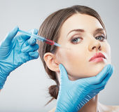 Beauty Woman face surgery close up portrait. Royalty Free Stock Photos