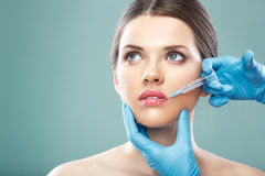 Beauty Woman face surgery close up portrait. Royalty Free Stock Image