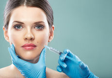 Beauty Woman face surgery close up portrait. Stock Photography