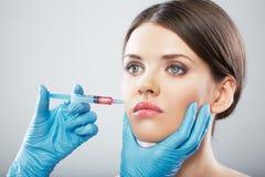 Beauty Woman face surgery close up portrait. Stock Photography