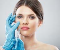 Beauty Woman face surgery close up portrait. stock photo
