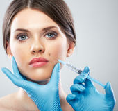 Beauty Woman face surgery close up portrait. Royalty Free Stock Photo