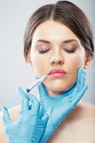 Beauty Woman face surgery close up portrait. Stock Photo