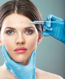 Beauty Woman face surgery close up portrait. Stock Image