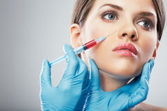 Beauty Woman face surgery close up portrait. Stock Images