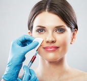 Beauty Woman face surgery close up portrait. Stock Photos