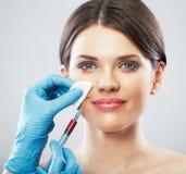Beauty Woman face surgery close up portrait. Stock Photos