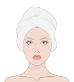 Beauty woman face. Woman with a towel on her head, isolated vector flat illustration for instructions Royalty Free Stock Image